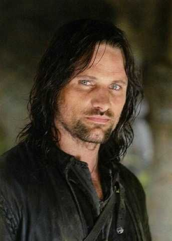 Viggo Mortensen as Aragorn. One of the few men in the world who looks better with facial hair and long tresses.