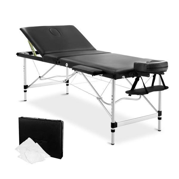 Portable Aluminium 3 Fold Massage Table Chair Bed Black 75cm – Click Online Sales