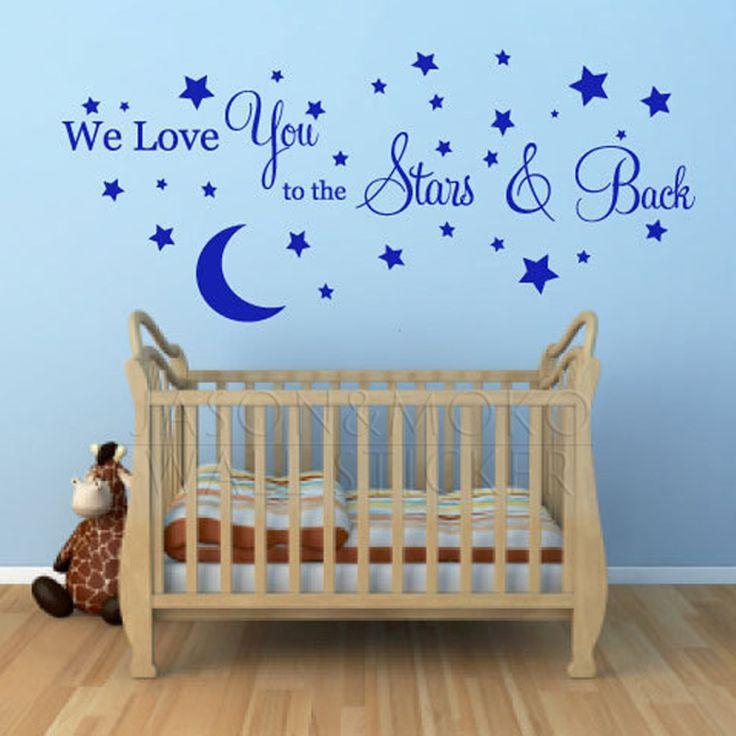 Мы с Удовольствием Вам Звезды И Луна Слова Цитаты Стикер стены Настенной Росписи Наклейка Обоев Детская Комната Спальня 55x120 см Home Decor