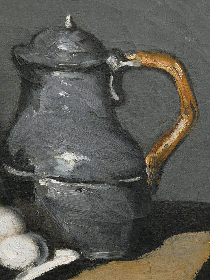 """CEZANNE,1867-69 - Pot vert et Bouilloire d'étain - Still Life with Green Jar and Pewter Kettle (Orsay) - Detail 7 - TAGS : details détail détails detalles painting paintings peinture peintures 19th 19e """"peinture 19e"""" """"19th-century paintings"""" paintings """"Still life"""" """"Nature morte"""" Orsay """"Nature morte"""" œufs eggs oignons onions nappe """"nappe blanche"""" """"white cloth"""" chiffon cloth gris grey Green Jar Pewter Kettle couteau knife vegetables vegetable légumes fruit fruits food pomme apple table"""
