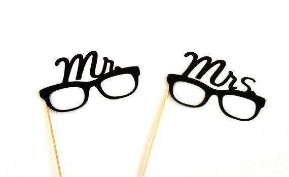 Love these His and Hers eyeglasses props for a wedding photo booth