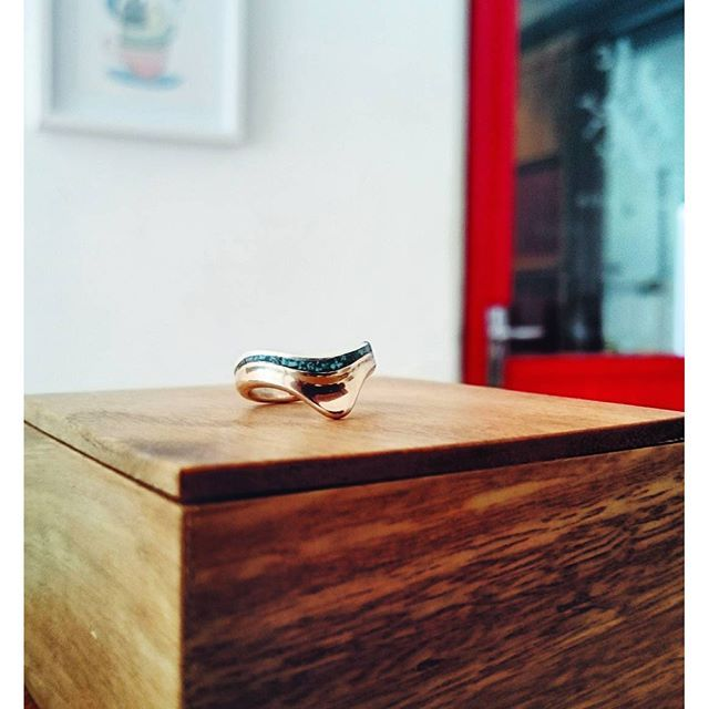 Copper and crushed turquoise ring for a special client
