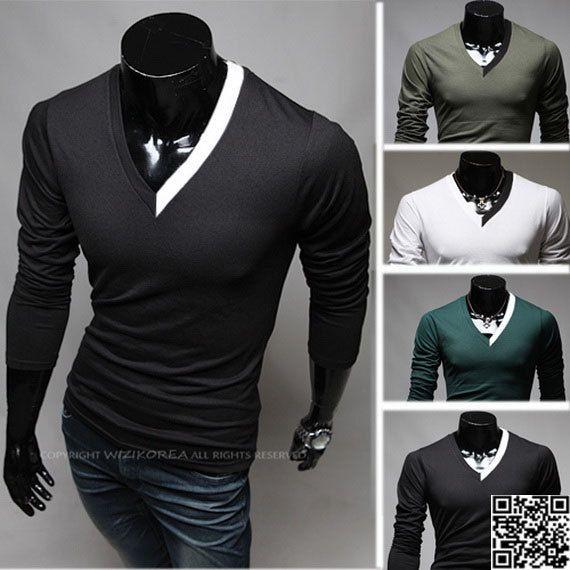 Cheap 17 Designs Mens T Shirt Slim Fit Crew Neck T Shirt: Men's Slim Fit Cotton V-Neck T-shirt Men's Long Sleeve T
