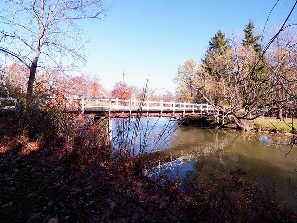 Ellicott Creek Park - Foot Bridge 2 Art Print by Leslie Montgomery.