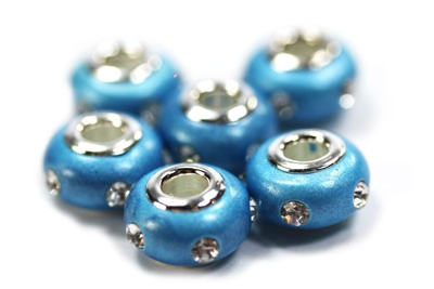 Blue Clay Rhinestone Pandora Beads