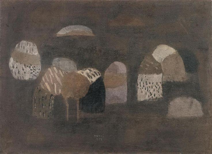 """blastedheath: """"Zoran Mušič (Solvenian, 1909–2005), Les Paysannes des Îles, 1953. Oil on canvas, 73 x 99.5 cm. """""""
