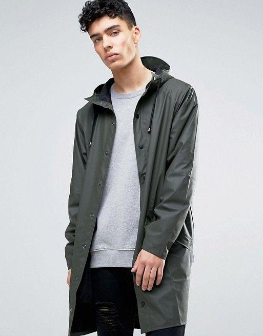 6c9a6aae Rains long hooded jacket waterproof in green | asos men | Hooded ...