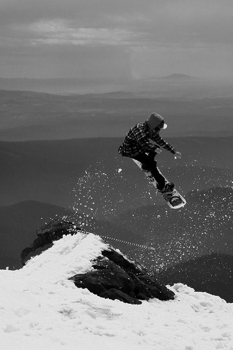Snowboarding Black and White Photography