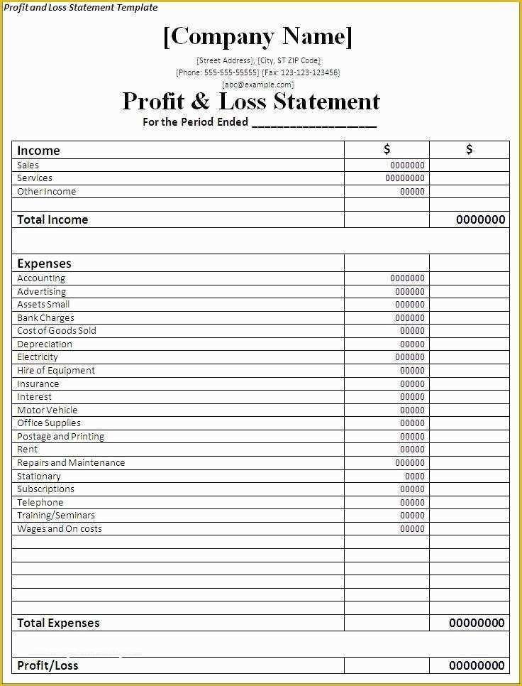50 Free Profit And Loss Template In 2020 Profit And Loss
