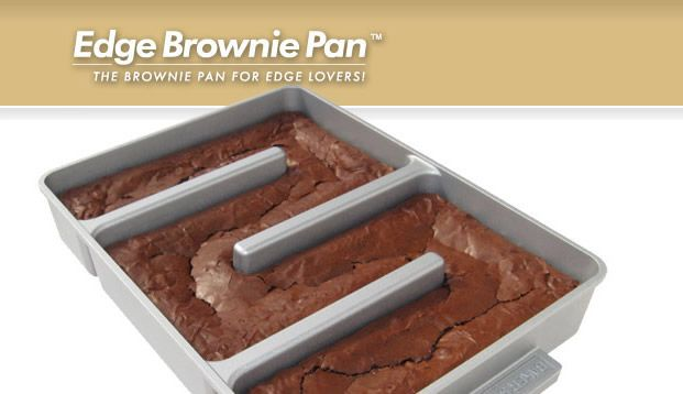 Edge Brownie Pan™. The best brownies have moist centers, a paper-thin crackly crust, and lots of chewy edges. This gourmet brownie pan that adds two chewy edges to every serving, and the pan also improves baking performance by circulating heat evenly to the pan's middle, where food typically takes longer to bake.