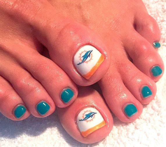 Miami Dolphins Nail Decals by AMnails on Etsy