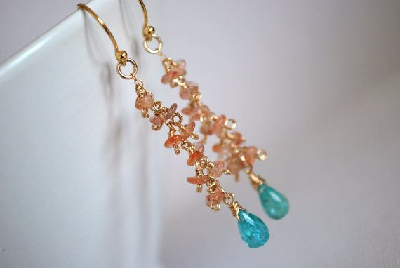 Oregon Sunstoneturquoise Quartz Earrings by ChaninBijoux on Etsy, $54.00