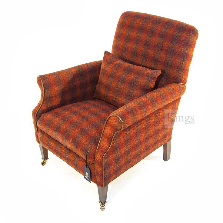 Tetrad Harris Tweed Bowmore Chair with Lumbar cushion in Autumn Check. http://www.kingsinteriors.co.uk/brands/tetrad-harris-tweed/tetrad-harris-tweed-bowmore-chair