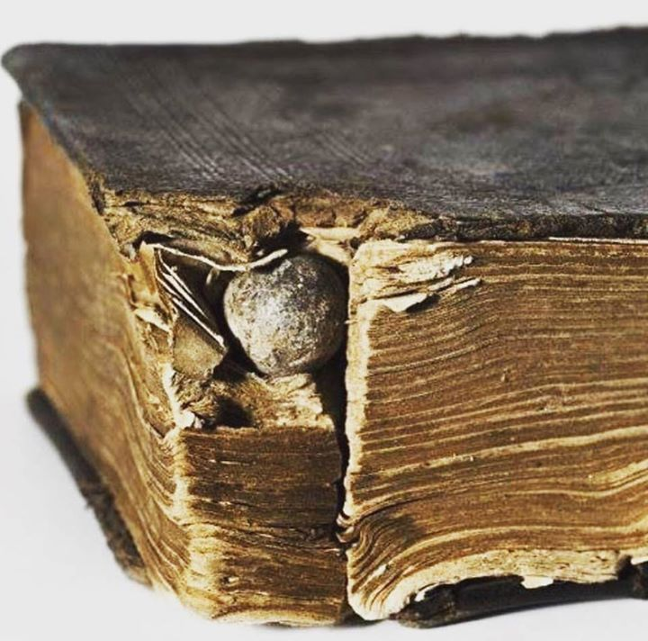 Bullet lodged in a bible that saved the life of a civil war soldier carrying it -- at the battle of Antietam, 1862.