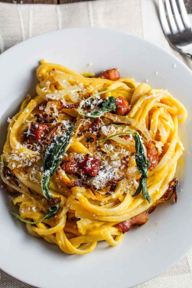 Butternut Squash Carbonara with Fried Sage and Caramelized Onions.
