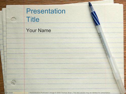 Notebook Paper & Pen Education PowerPoint Templates