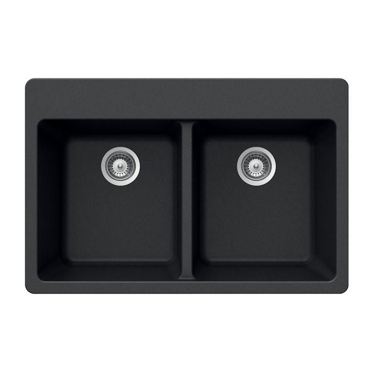 Houzer M-200 MIDNITE Quartztone Series Granite Topmount 50/50 Double Bowl Kitchen Sink, Black