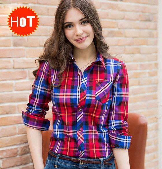 2016 spring plaid shirt women's long-sleeve shirt outerwear loose plus size clothing Autumn blouse shirts women free ship F227  #fashion #YLEY #highschool #handbags #L09582 #WomenWallets #kids #shoulderbags #bag #Happy4Sales #backpack #bagshop  #NewArrivals