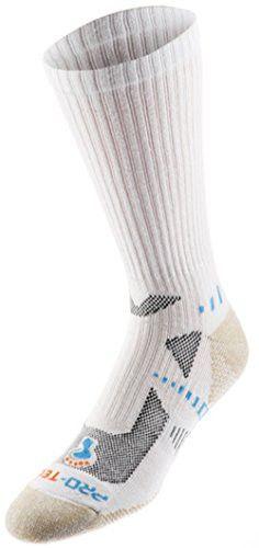 Pro-Tect Men's Extreme Fitness 2-Pack Crew Cut Socks (Large, White)