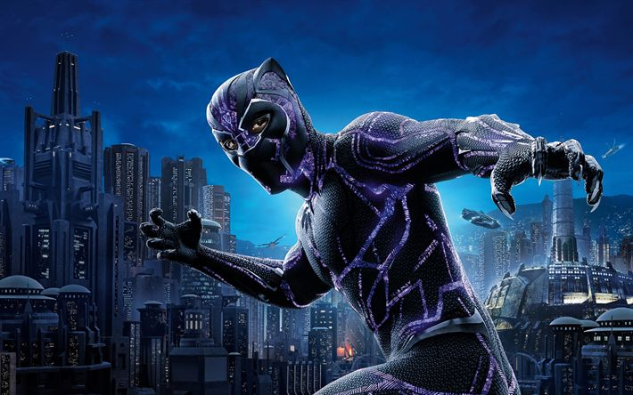 Download wallpapers Black Panther, 2018, art, superhero, new movies, main character