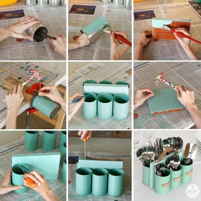 Cutlery Holder Made with Cans and Wood  - http://www.amazinginteriordesign.com/cutlery-holder-made-with-cans-and-wood/