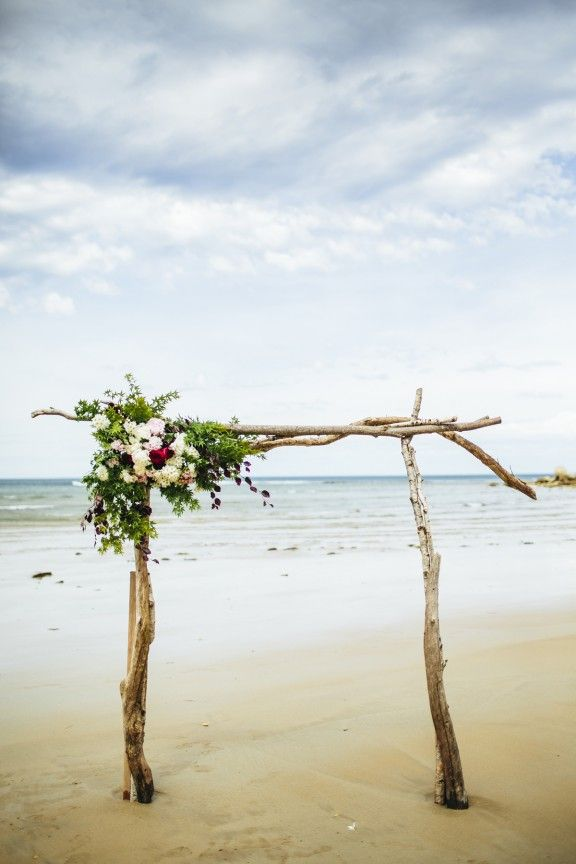 Driftwood wedding arbor, beach wedding by Love Katie & Sarah