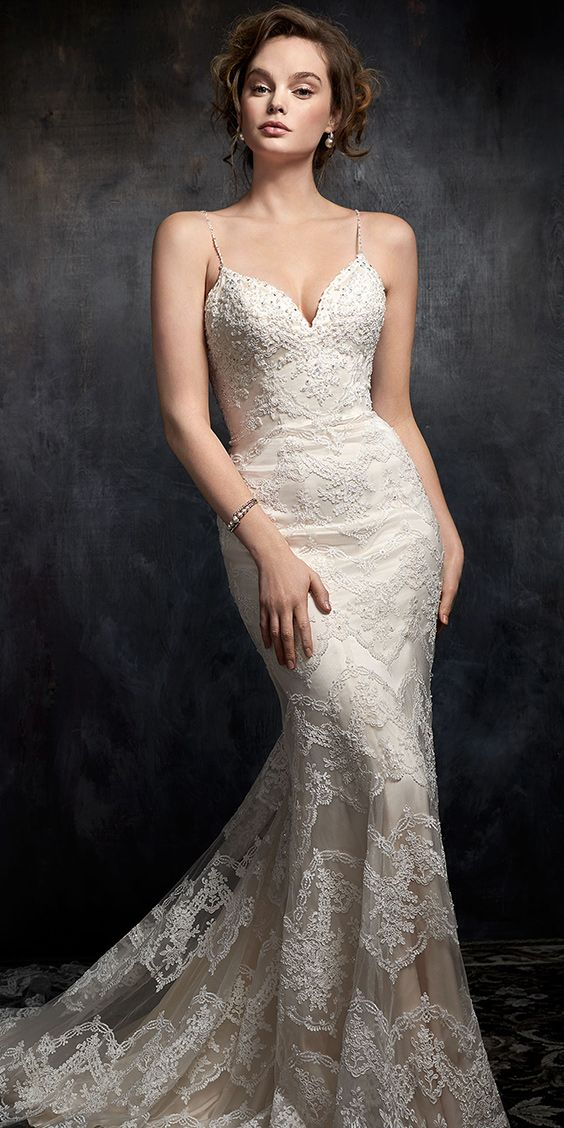 Kenneth Winston Style 1738 | corded alencon lace wedding dress with ...