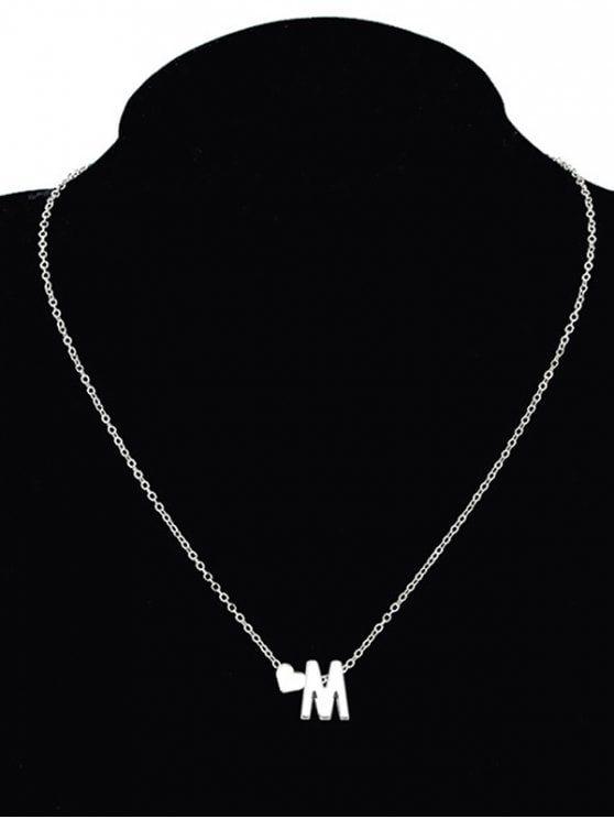 Collar con forma de corazón de la letra M M Collar - Plata