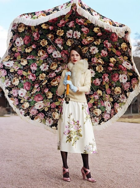 Floral Sun Umbrella with floral dress.Wedding by lilycui, via Flickr