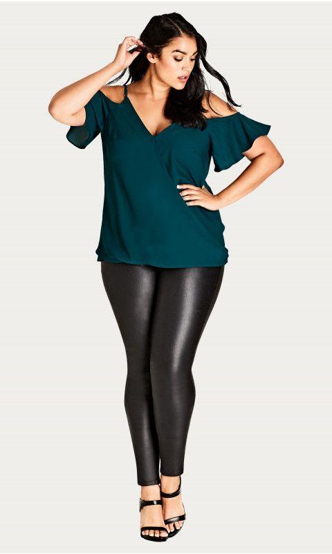 7bda3532a5 Emerald Simple Elegance Plus Size Cold Shoulder Top
