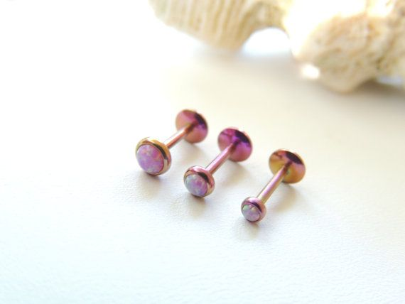 16g Pink Fire Opal Labret Lip Monroe Cartilage Piercing, Triple Helix Conch Piercing, 16g 16 Gauge Piercing Barbell. 990