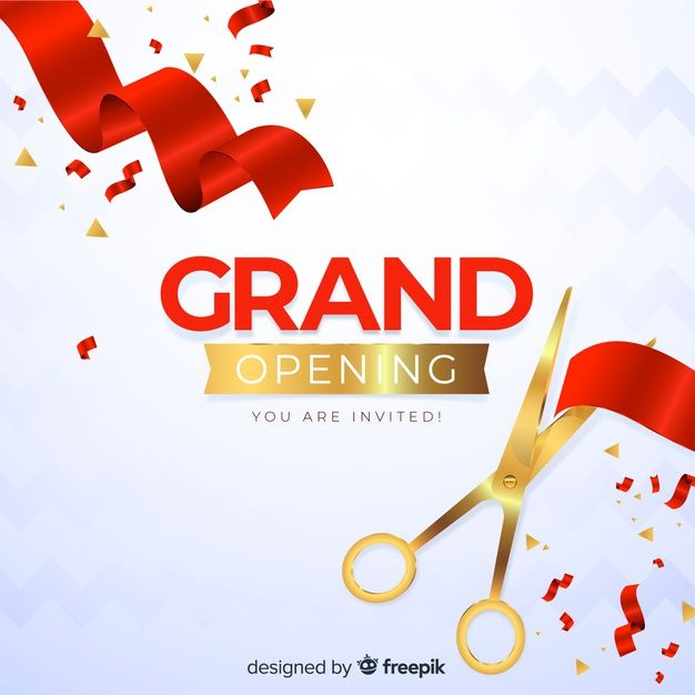 Download Realistic Grand Opening Decorative Background For Free Grand Opening Vector Free Social Media Poster
