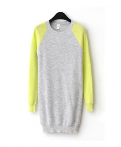 Longline Knit Sweater with Neon Sleeves