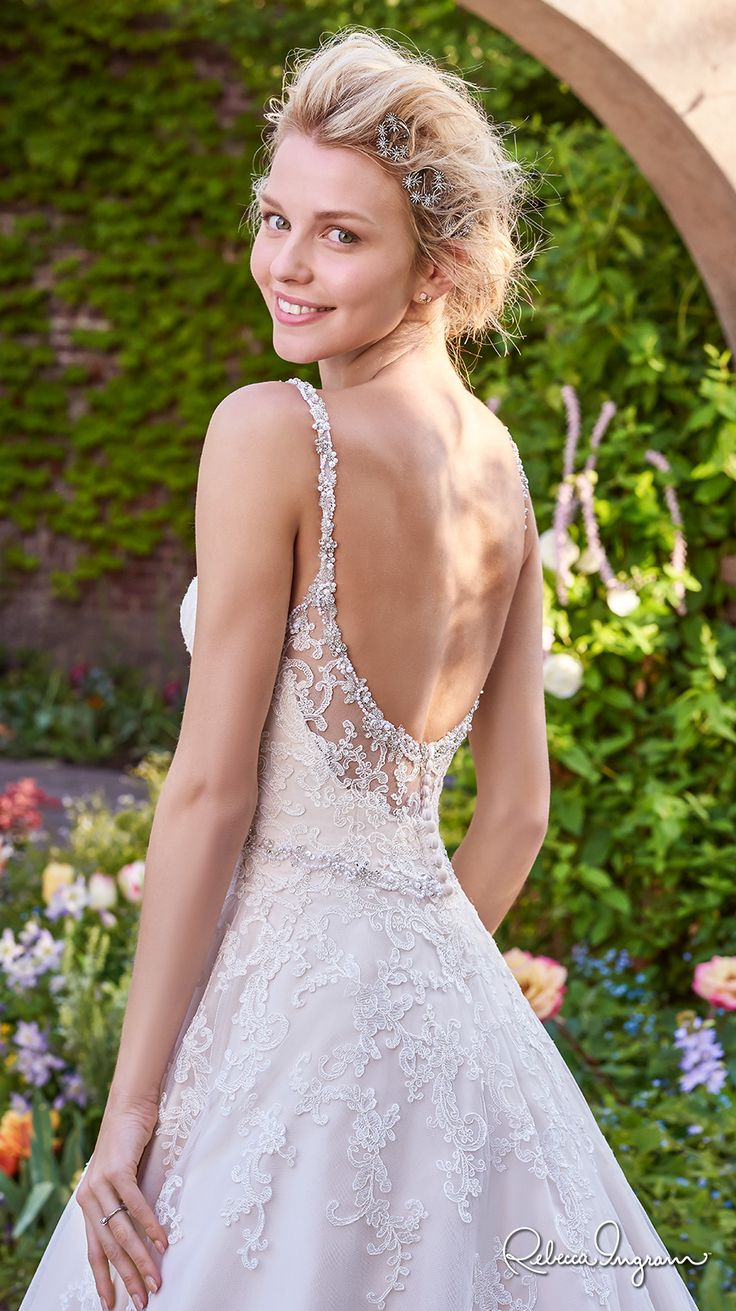 Rebecca Ingram 2017 bridal sleeveless thin strap sweetheart neckline heavily embellished bodice romantic a  line wedding dress scoop back chapel train (allison) zbv #wedding #bridal #weddingdress