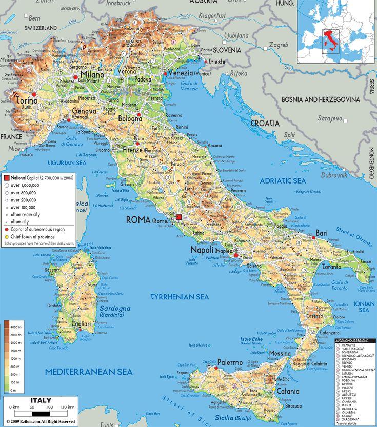 Italy Physical Map- Shows Gaeta (B. Anna Toscano, 1905) and the island of Sicily (B. Charles Villa, 1905)
