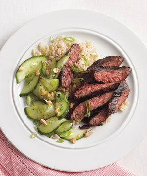Spicy Hoisin Skirt Steak With Cucumber Salad Recipe - 11 points  20 g Fat, 40 g protein, 26 g carbs, and 3 g fiber.