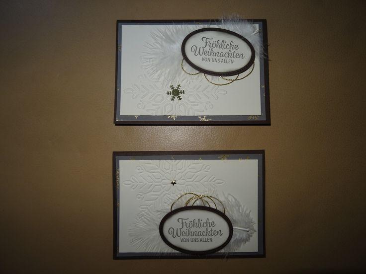 Stampin up SU Karte Weihnachten Weihnachtskarte vanille schokobraun gold Weihnacht Schneeflocke Stern Eiskristall Framelits Federn Sterne