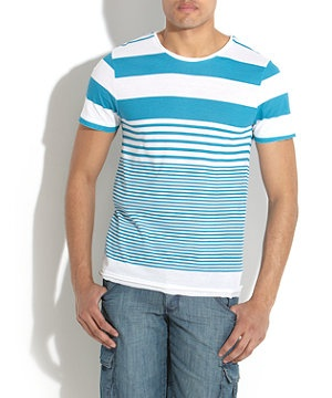 Turquoise (Blue) Blue and White Irregular Stripe T-Shirt | 248049748 | New Look