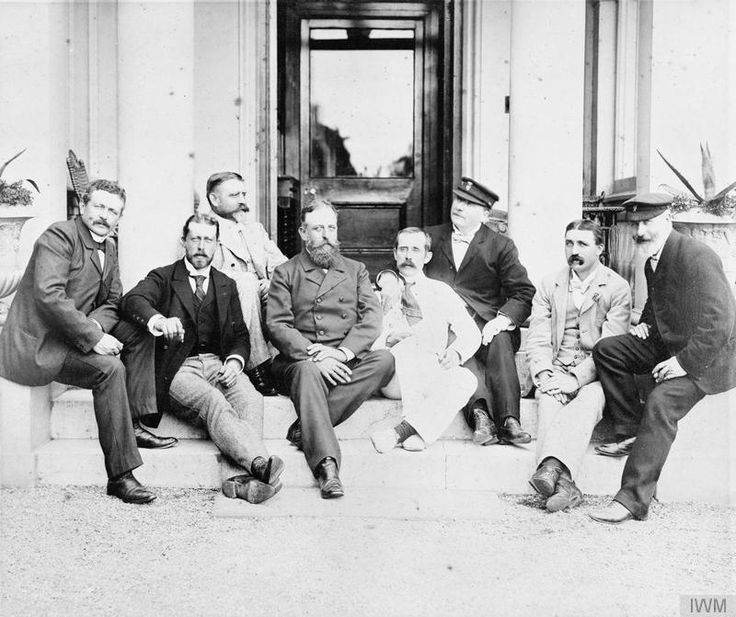 German & British naval officers at the Royal Yacht Club Queenstown (now Cobh) County Cork Ireland in 1900. They include Prince Heinrich of Prussia (second from the left) Admiral Eduard von Capelle (third from the left) Admiral Alfred von Tirpitz (fourth from the left). [800x671]