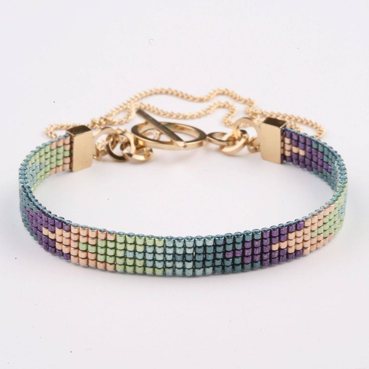 Navajo Bracelet - Peacock/Gold