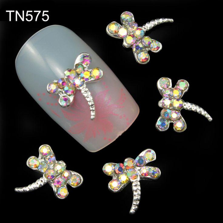 10 stks 3d nagels decoratie charmes sieraden lijm steentjes voor manicure dragonfly ontwerp glitter strass nagels art TN575