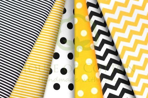 B&W and yellow polka dot, stripes and chevron cotton fabric set / Zestaw czarno-biało-żółty