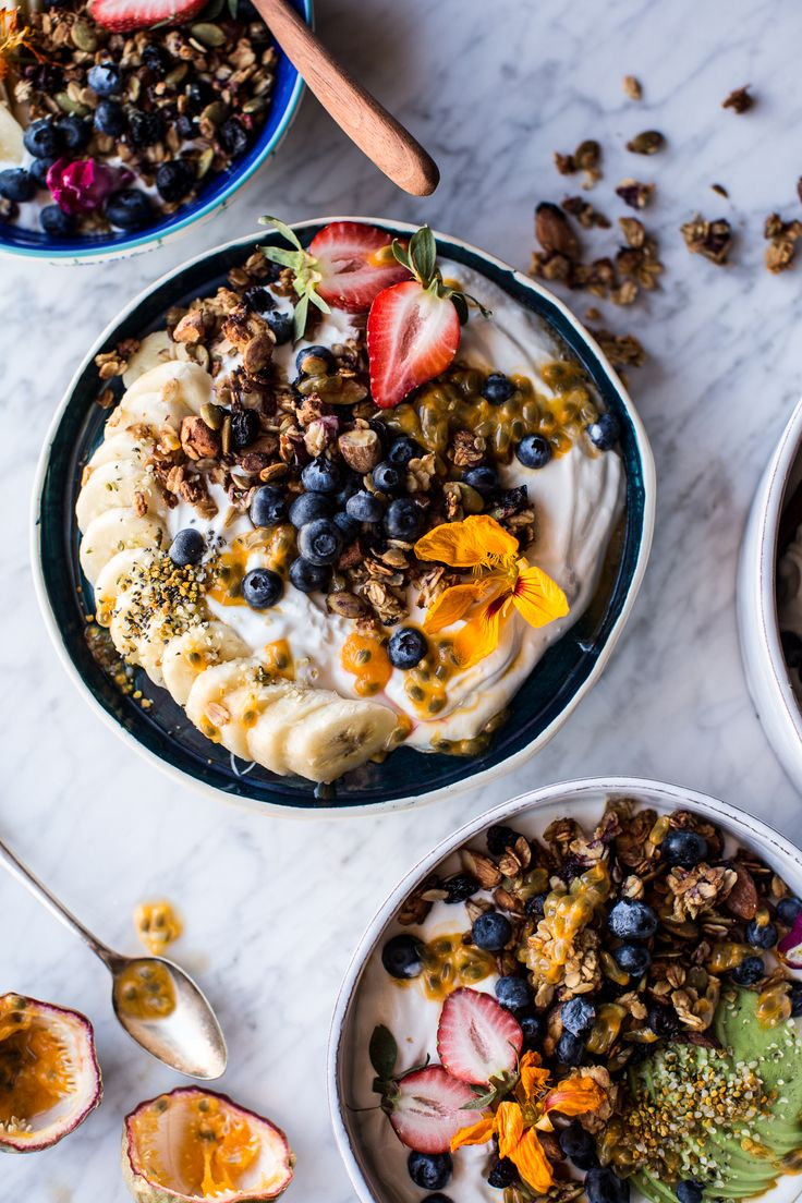 Blueberry Muffin Granola Greek Yogurt Breakfast Bowl - healthy, delicious, perfect for breakfast, snacks or on the go meals, from halfbakedharvest.com