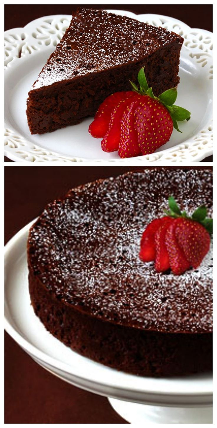 3-Ingredient Flourless Chocolate Cake -- decadent, delicious, and made with just eggs, butter and chocolate! gimmesomeoven.com