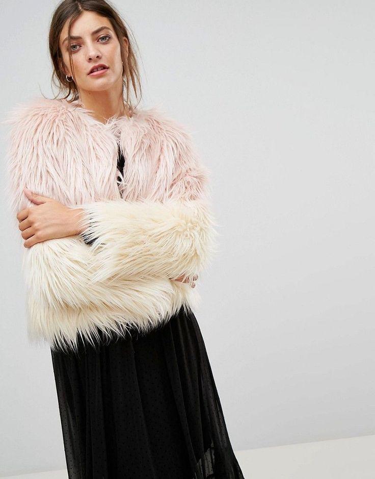 Stradivarius Faux Fur Jacket - Pink