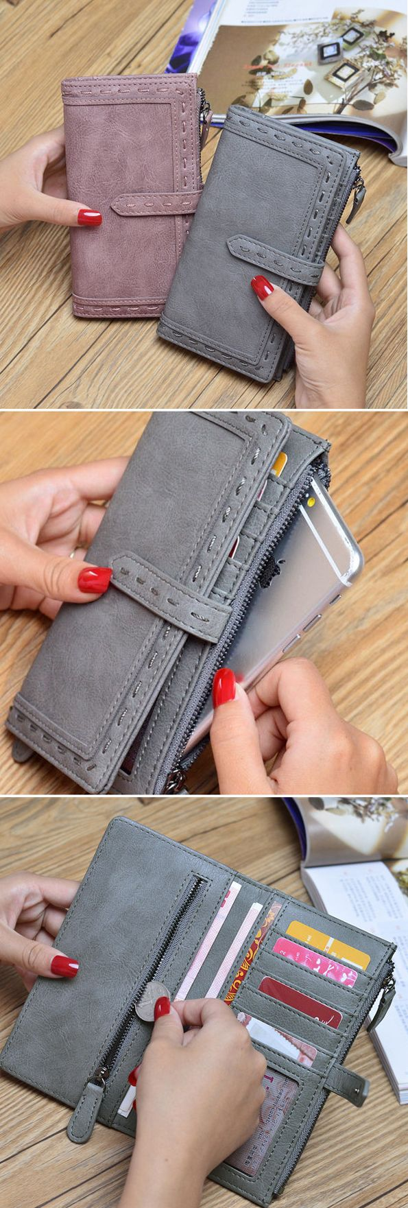 US$14.56 Elegant Stylish Long Wallet Card Holder Hasp Purse For Women