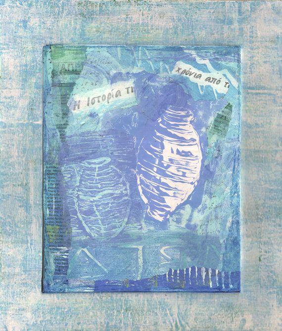 History  Original Art Blue Pots Greek Text by Artistswindow