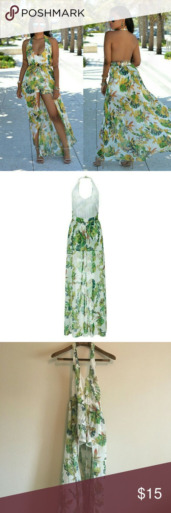 Women's V Neck Floral Chiffon Maxi Dress/Romper Never worn. 80% polyester 20% linen, pull on closure, floral Maxi dress overlay Romper playsuit made of Chiffon fabric. Occasion: holiday, party, club, evening, cocktail, casual, beach and wedding, great for summers and spring. Fit: Runs Small. Felicity Young Dresses