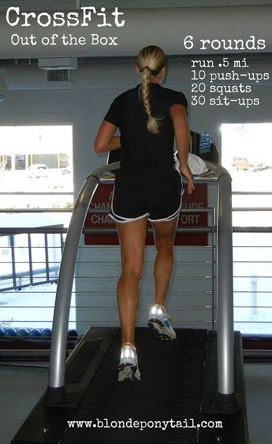 run .5, 10 push ups, 20 squats, 30 sit ups, repeat 6 times.