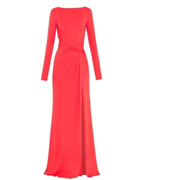 Elie Saab V-back twist-front gown ($2,430) ❤ liked on Polyvore featuring dresses, gowns, gown dresses, iltapuvut, pink, pink ball gown, slit dress, red v neck gown, red evening gowns and plunge dress